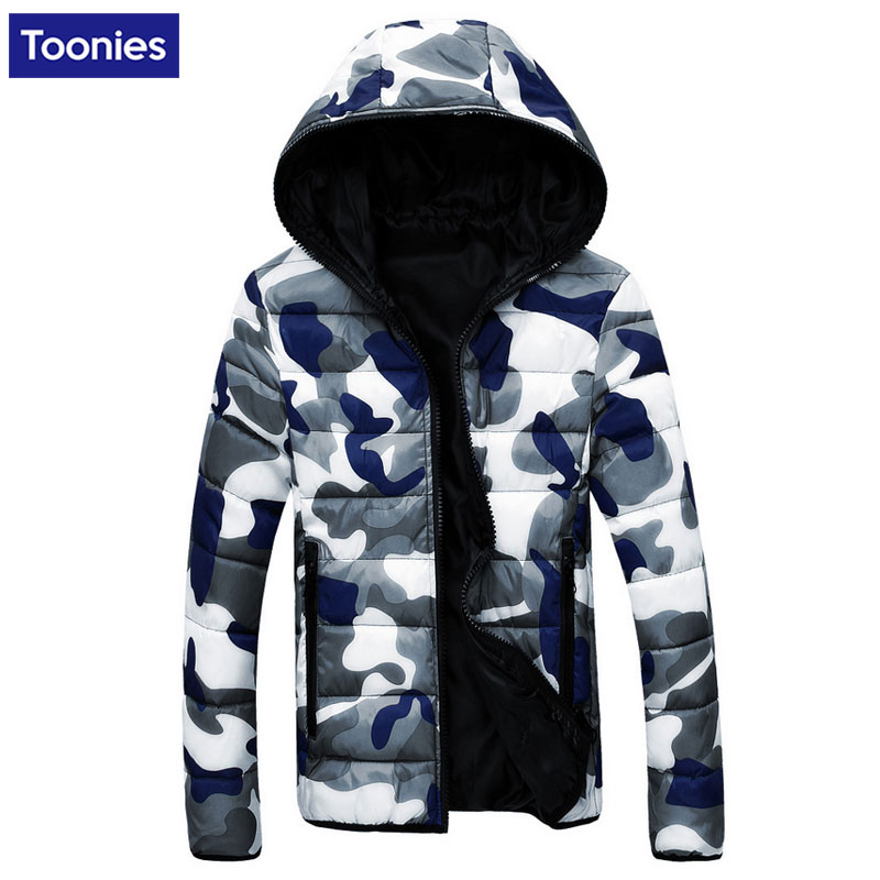 Men's Jackets Winter Coat Cotton Padded Zipper Outwear Jacket Military Camouflage Hooded Clothes Warm Mens Top His and Her