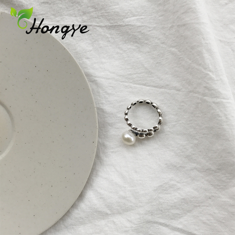 Fashion Silver 925 Ring for Women Shiny Beaded Finger Rings Cocktail Party Brand Natural Pearl Ring Fashion Jewelry Wholesale in Rings from Jewelry Accessories