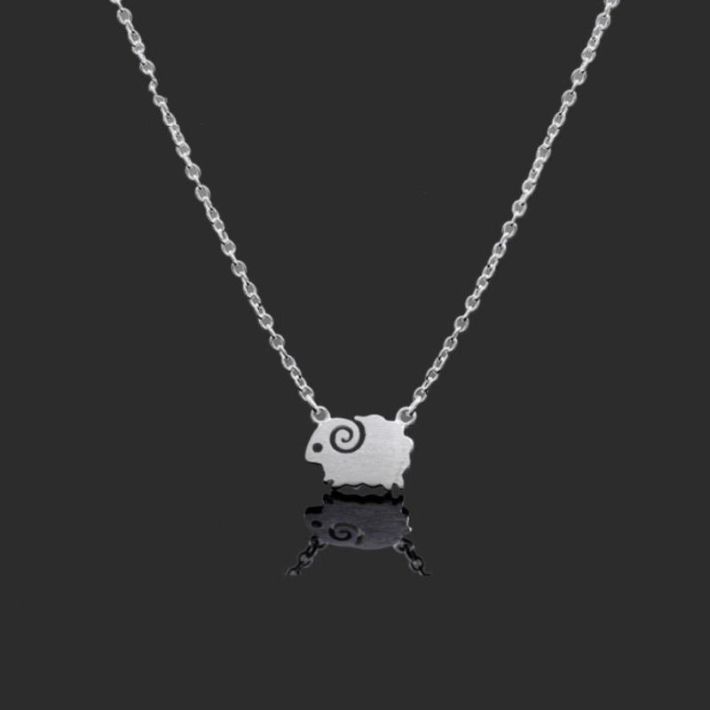 Mini She'e'p Drawing Sweet Cute 925 Sterling Silver Clavicle Chain Temperament Personality Trendy Female Necklace SNE236