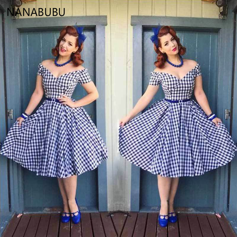 NANABUBU Large Size S-4XL Women Dress Vintage Zipper Up Plaid Pinup 50s 60s Tunic Big Swing Dress Plus Size Dresses For Women