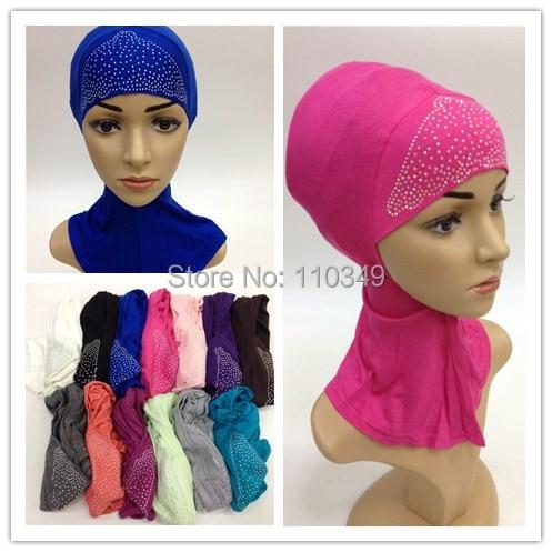 20 pieces lot rhinestones muslim cotton inner hijab underscarf cover neck underscarf SYF116