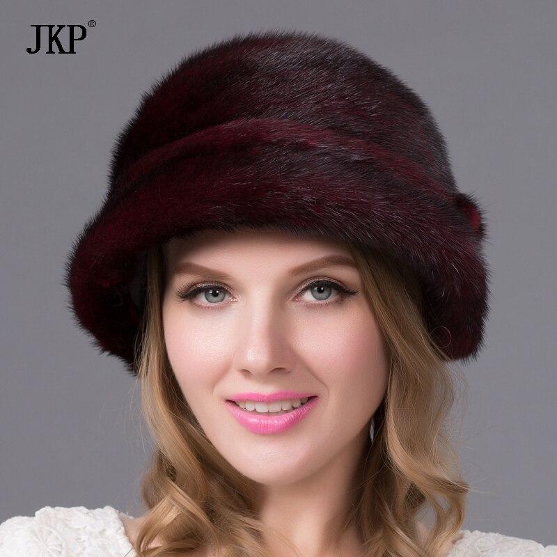 100% натуральный мех норки мех женский зимний модный цветочный горшок бейсболка теплая шапка с ушами
