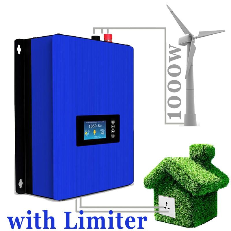 1000 W energía eólica red Tie Inverter CON LIMITADOR sensor/regulador de carga/resistencia para 3 fase 24 V 48 V turbina de viento