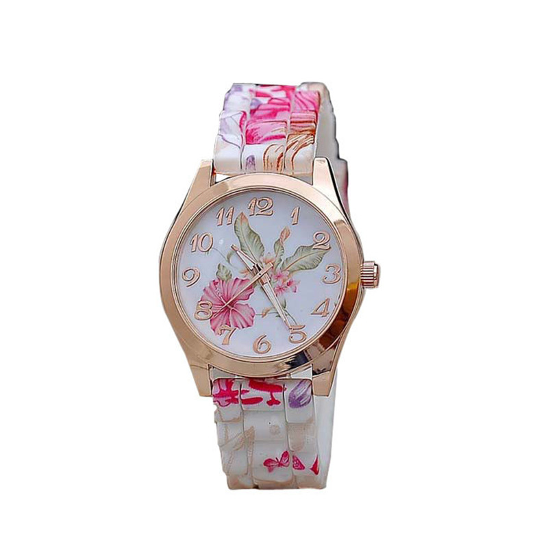 Women Watch 2018 Silicone Printed Flower Causal Quartz Girls Sport Wrist Watches luxury Ladies Beautiful relogio feminino A80