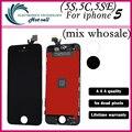 Uma qualidade 1 pçs/lote +++ display lcd para iphone 5 5g 5S 5C 5se com tela de toque conjunto Completo Assembléia Branco e preto