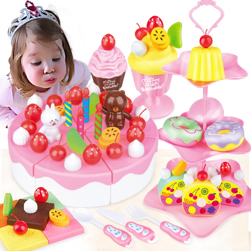 39 86pcs diy pretend play fruit cutting birthday cake - Cocina juguete aliexpress ...