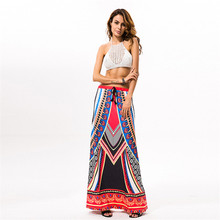 Fshion new personality print ankle-length falda de festa beach travel A-line casual bohemian skirt for women wz017