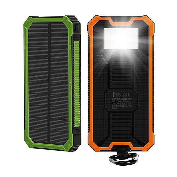 Outdoor Waterproof Solar Power Bank 6000mAh Dual USB Portable External Battery LED Flashlight Solar Charger For Phones Tablet