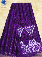 BEAUTIFICAL purple lace tulle fabric high quality velvet lace fabric with sequins nigerian lace fabrics material 5yards ZSN30