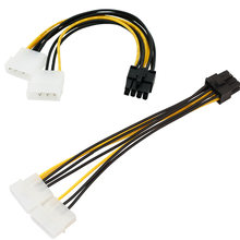 Hot 6 inch 2 x Molex 4 pin to 8-Pin PCI Express Video Card Pci-e ATX PSU Power Converter Cable - Molex to Pcie 8 pin Adapter(China)
