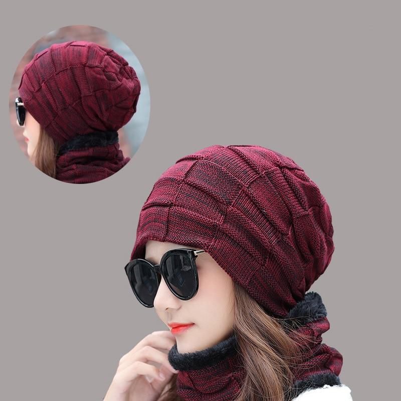 Женская вязаная шапка Yienws, лыжная шапка с шарфиком, теплая шапка для зимы, YIC557