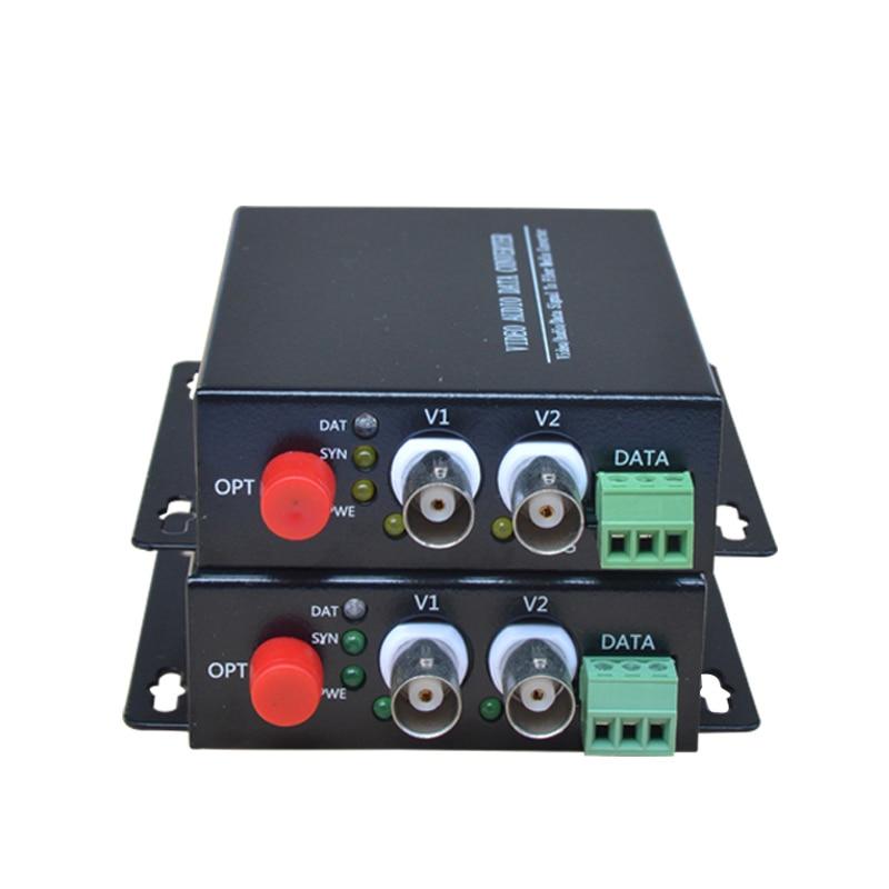 2 CH Video Fiber Optical Media Converters 2 BNC Transmitter Receiver RS485 Data Single mode 20Km For CCTV Surveillance system