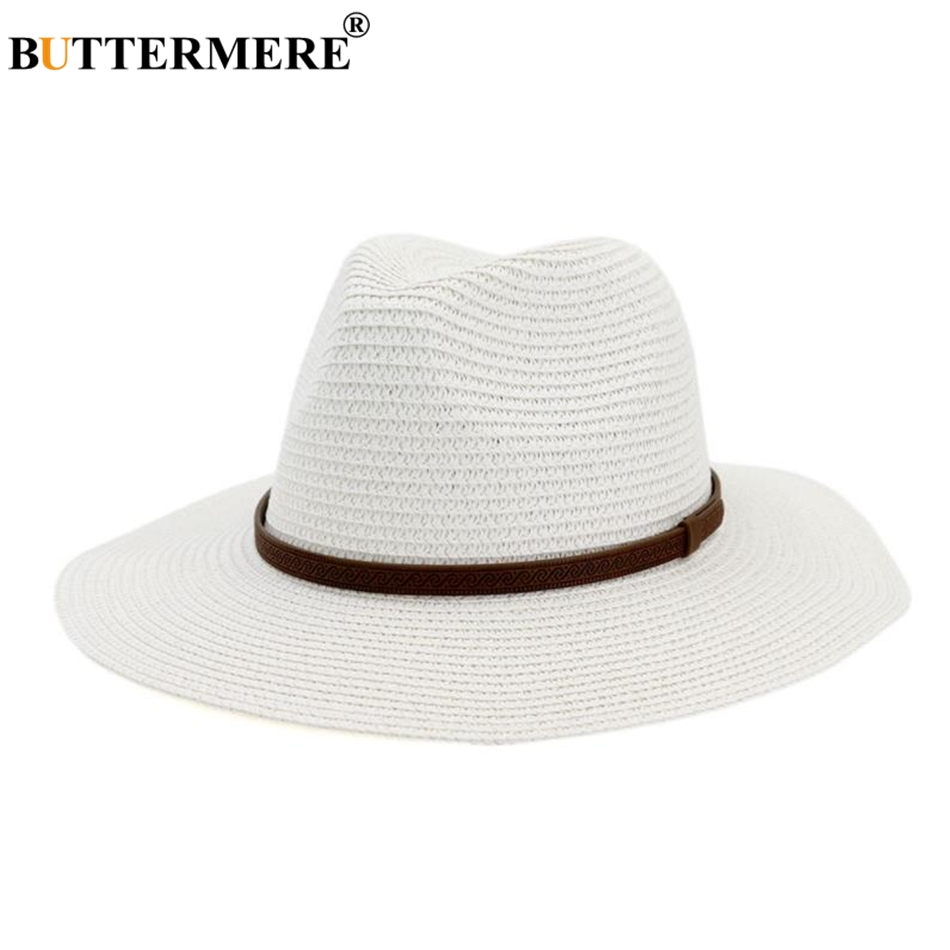 11bc1aa3 BUTTERMERE Panama Hats Womens Summer Sun Hat Male Female Navy Straw Belt  Decorate 2019 New Fashion Men Jazz Hat-in Women's Sun Hats from Apparel  Accessories ...