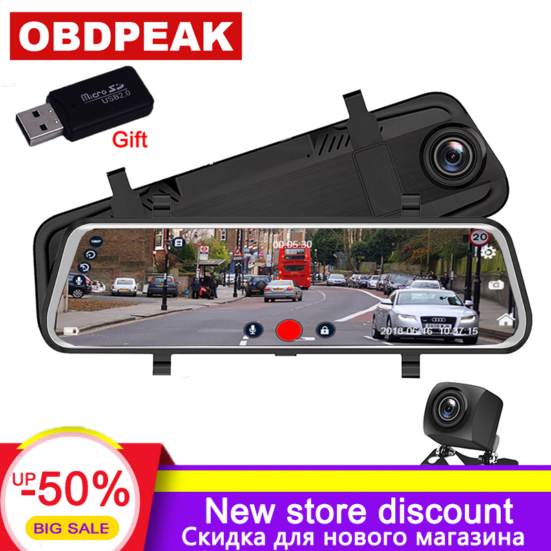 Reversing Assistant G-Sensor Parking Mode AUKEY Backup Camera 9.66 IPS Touchscreen FHD 1080p Dual Mirror Dash Cam Water-Resistant Rear Camera Stream Media Car Camera with WDR Loop Recording