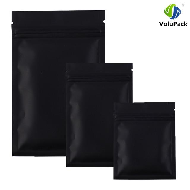 Alta qualidade 12X18 CM, 100 X Metálico folha De Alumínio Mylar ziplock sacos de fundo plano Preto pequeno zip sacos de plástico de bloqueio