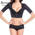 Burvogue Hot Shaper Push Up Short Sleeve Sexy Crop Tops Slimming Control Arm Shapewear One-piece Shaper Fashion Women Shapers