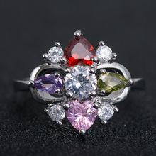 Huitan Luxury Cocktail Party Ring With Coloful Rainbow Cubic Zircon Prong Setting Women Ring Cocktail Party Accessories Ring huitan luxury cocktail party ring creative wings pattern design vintage deep blue cubic zircon stone prong setting female ring