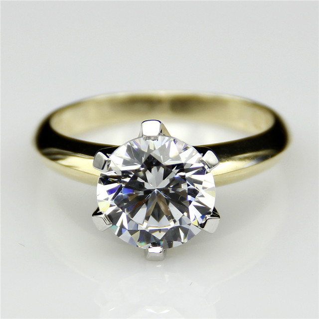 Round 2ct Lab Grown Diamond Classic 6 Prongs 14k Two Tone Gold Engagement Ring Solitaire Esdomera Moissanites Wedding Ring