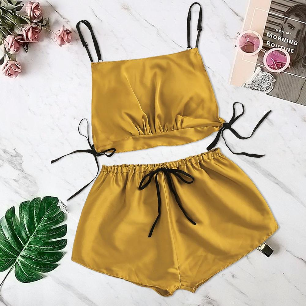 Women Satin Silk Bowknot   pajamas     set   Camisole Shorts   Set   Sleepwear Bandage Lingerie home suit summer fashion camis nightie pink