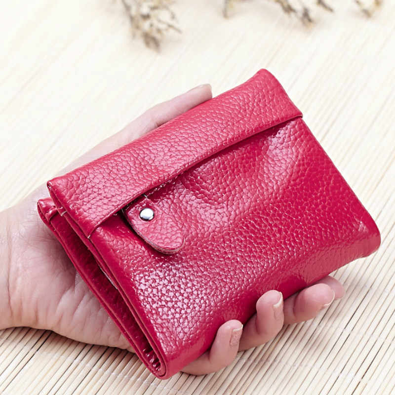 2018 Designer Soft Real Genuine Leather Wallet Cute Slim Women Small Zipper Bifold Purses Mini Money Short Clutch Bag Red Black