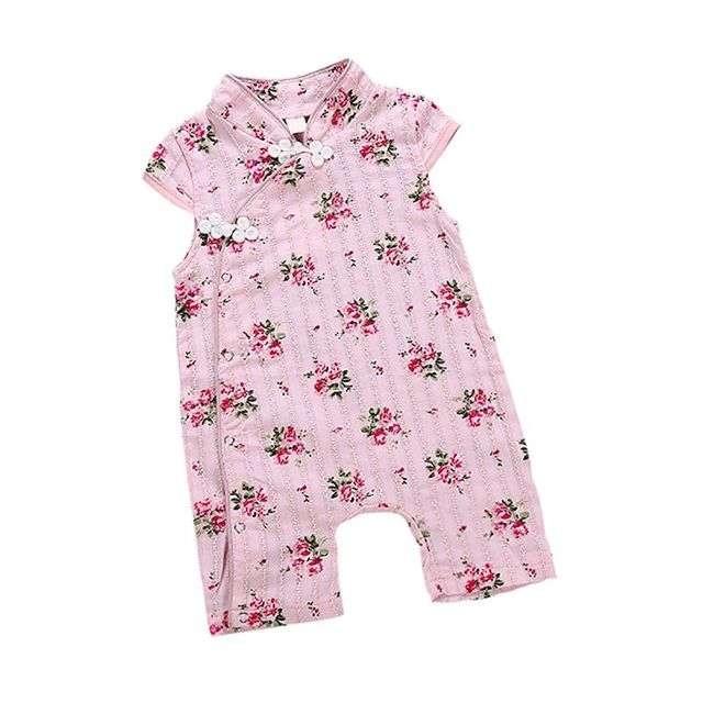 1b54d84447a8 Newborn baby romper summer baby girl Siamese short-sleeved cheongsam  rompers Chinese style