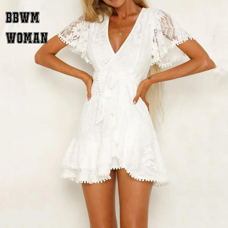 Solid White Lace Flower Women Dress Elegant Party Mini Casual Clubwear Short Sleeve Female Dresses ZO1511