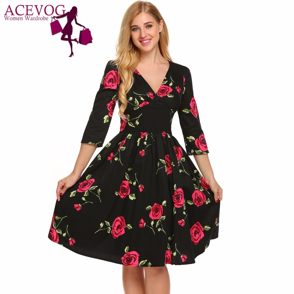 ACEVOG Vintage Women Dress Autumn Sexy V-Neck 3/4 Sleeve Solid/ Floral/ Print Fit and Flare Pleated Party Dresses Lady Vestidos floral chiffon dress long sleeve