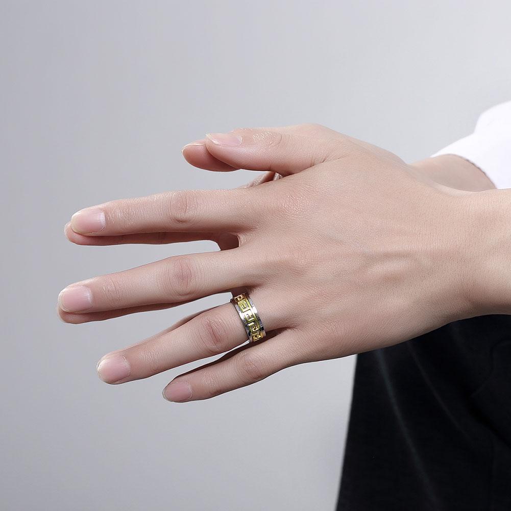VNFNMI Mens G Letter Ring With Pattern Trendy 18K Gold/Platinum ...