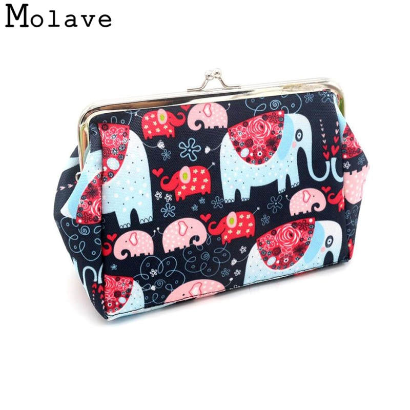 Naivety Canvas Coins Purses Animal Printing Coin Purse Small Hasp Elephant Prints Wallet Bag 30S71213 drop shipping ...