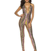 Women Jumpsuit Deep V Backless Sequins Skinny Spaghetti Strap With Sashes Sexy Rompers Glitter Club Party Overalls Dropshipping