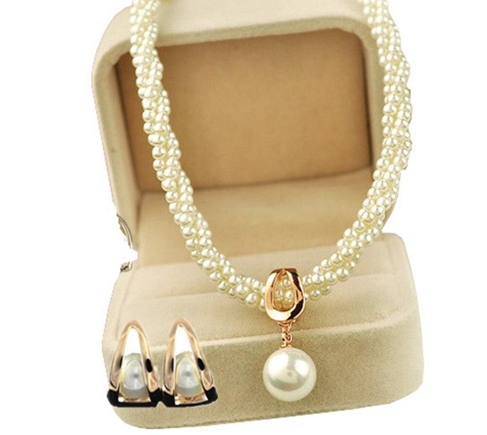 Multistrand Twist Pearl a Přívěsek Náhrdelník a Stud náušnice šperky sady Lady