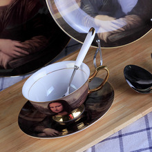 GLLead European Mona Lisa Style Ceramic Tableware Home Hotel Dining Table Dinner Service Steak Plate With Cup Saucer Dinner Set