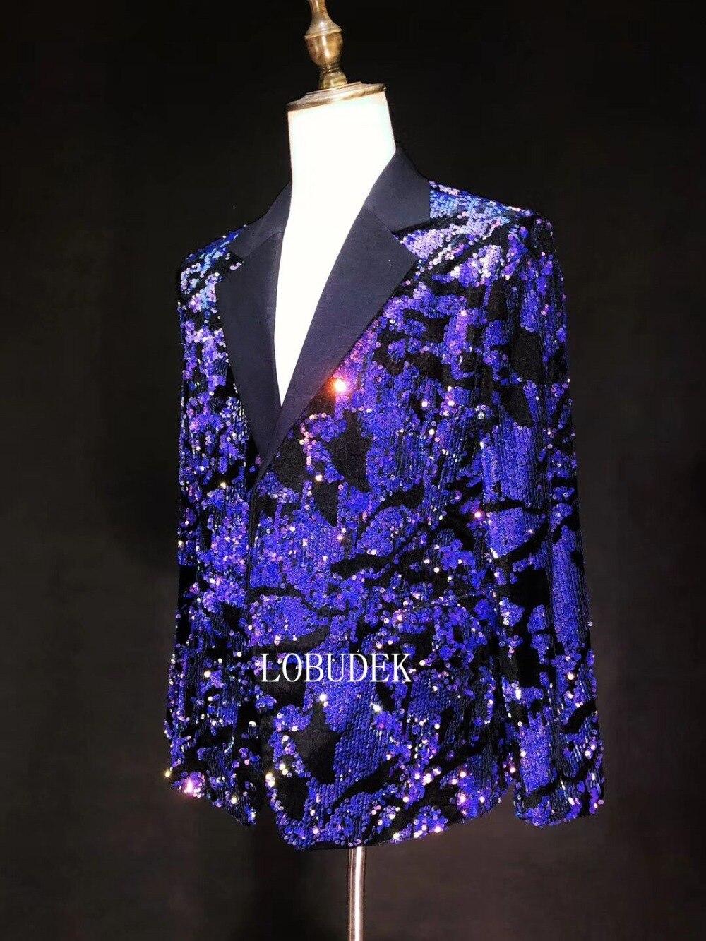 Brillant bleu violet paillettes veste hommes Costume vestes mode Slim Blazers manteau mâle chanteur discothèque vêtements hôte spectacle Costume - 4