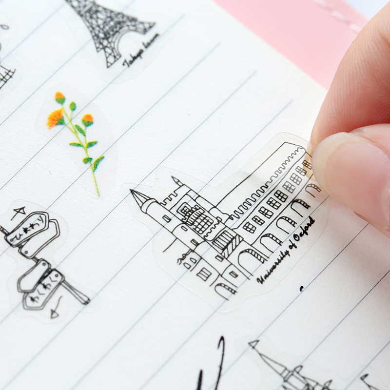 6 Sheets/lot World-renowned Architecture Tour Pvc Transparent Stickers Flakes Decorative cute World Famous Buildings Diy Lable
