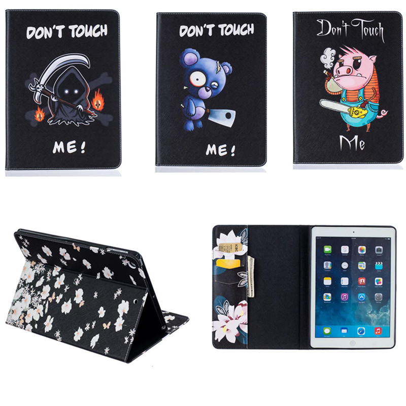 BF Vintage Flower Cute Pattern PU Leather Case Cover for iPad Air1 with Stand Card Holder Case For ipad air 1 ipad5 9.7 Tablet