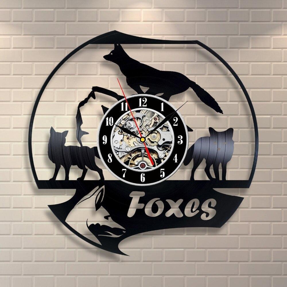 Fox Room Decor Vinyl Record Clock Wall Art Home Get Unique Living