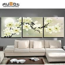 RUBOS DIY 5D diamond embroidery Flowers White Magnolia triptych painting cross wall modular Multi-picture 3D Pattern kit
