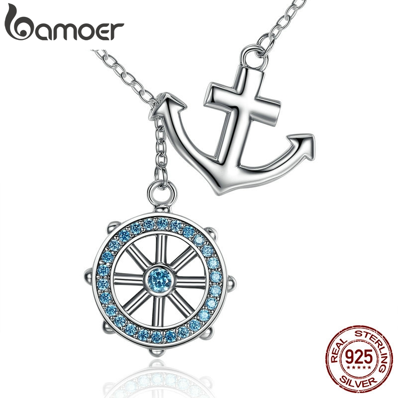 BAMOER New Collection 925 Sterling Silver Blue Anchor & Rudder Pendants & Necklaces Wedding Jewelry 45CM SCN049BAMOER New Collection 925 Sterling Silver Blue Anchor & Rudder Pendants & Necklaces Wedding Jewelry 45CM SCN049