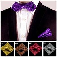 6 Colors Dot Classic Silk Self Bow Tie Jacquard Woven Men Butterfly Bow Tie Bowtie Pocket Square Handkerchief Suit Bowtie Set