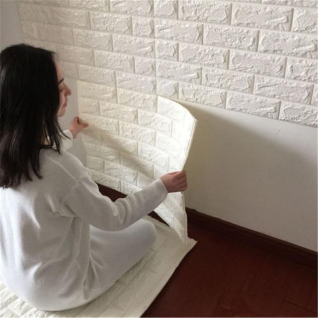 Bricolage Blanc 3D Brique Mur Autocollant PE Mousse En Relief Brique Pierre  Papier Peint Pour Salon