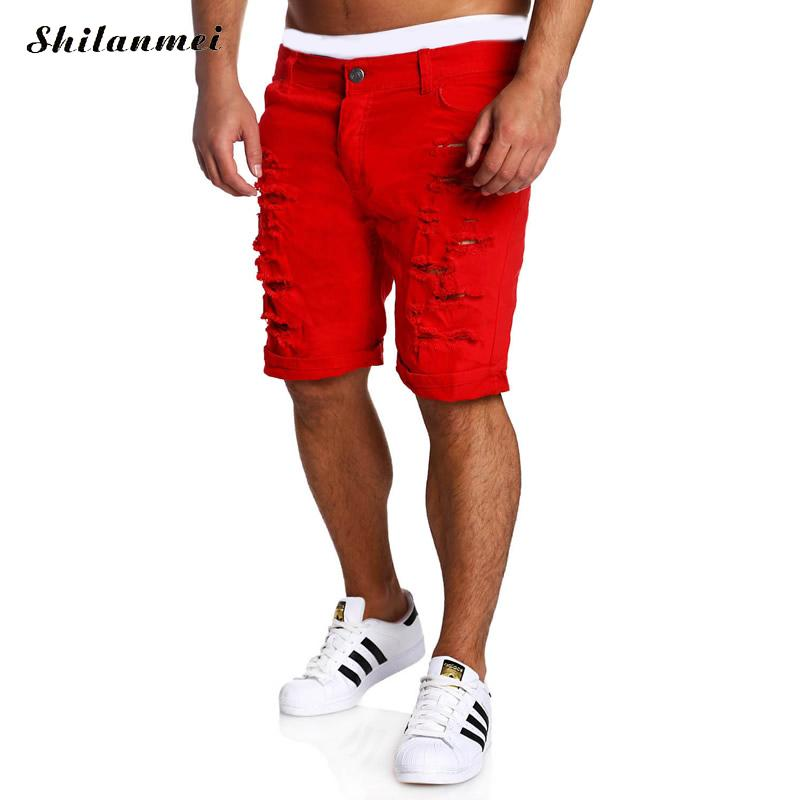 Men's Casual Shorts Middle Waist Men Capri Short black blue red white short homme frayed workout fitness fashion shorts xl xxl
