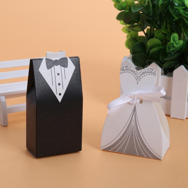 100pcs Wedding Candy Box Black White Groom Bride Dress Wedding Gft Box Candy Bag Gifts for Guests Favors Bags Event Party Supply
