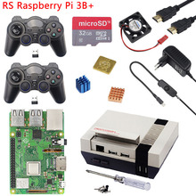 Raspberry Pi 3 Model B+ NESPi CASE Plus+ 2 Wireless Gamepad + 32GB SD Card + 3A Power Adapter + Fan + Heat Sink for Retropie