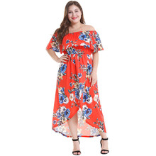 купить 2019 Fashion Brand Women Dress Plus Size 6XL Vestidos Print Flower Straight Casual Summer Oversized Dress по цене 1020.61 рублей
