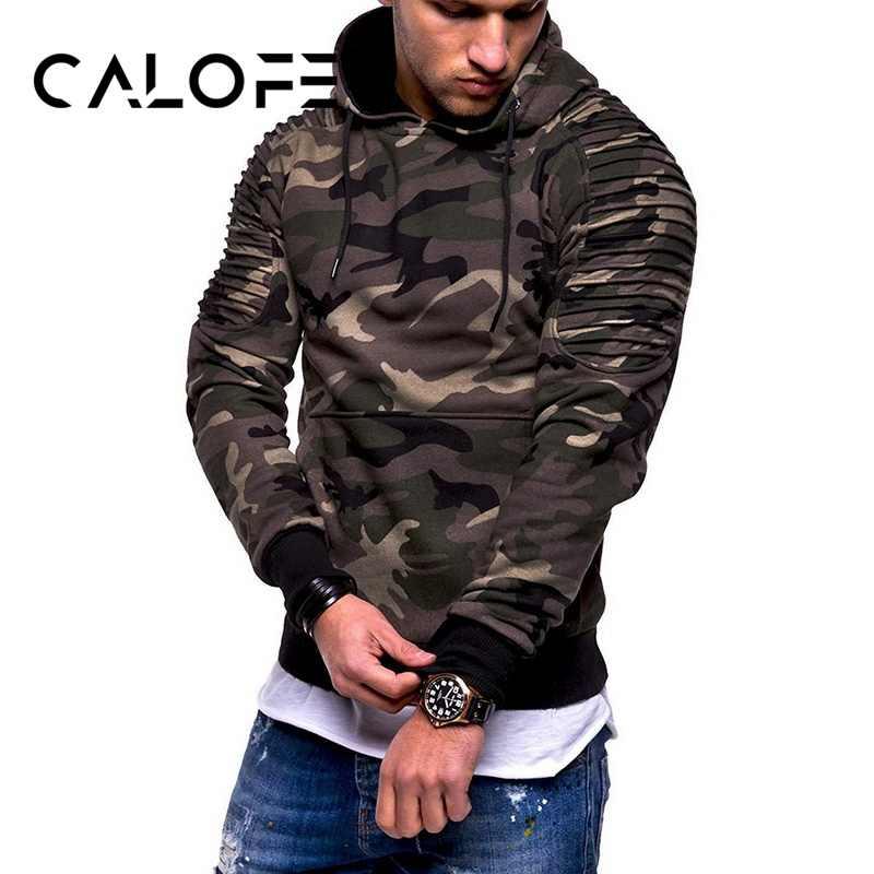 Calofe 남자 훈련 운동 스웨터 위장 풀오버 체육관 휘트니스 남자 러닝 스웨터 포켓 군사 후드 티셔츠