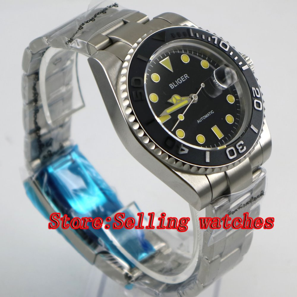 40mm Bliger black Dial ceramic bezel Stainless Steel Strap Sapphire Glass Automatic Movement Men's Mechanical Wristwatches p056 44mm bliger gray dial blue ceramic bezel sapphire crystal automatic movement men s mechanical wristwatches