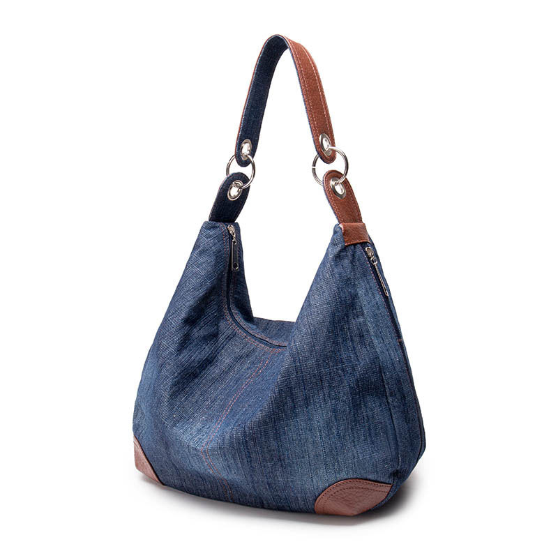 Mode Kvinnors Causal Bags Dam Denim Handväska Stora Axelväskor Blue - Handväskor - Foto 2