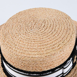 Image 3 - Mode Biene Sommer Sonne Hut Für Frauen Natürliche Bast Häkeln Stroh Hut Mit Band Flache Panama Hut Sommer Reise Strand hüte