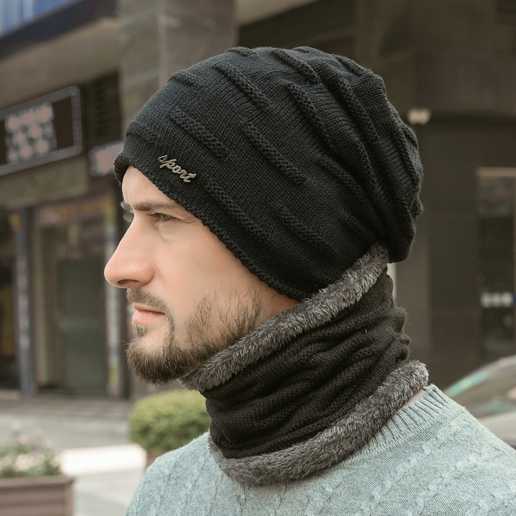 шапка и шарф Winter Beanies Men Scarf Knitted Hat Caps Mask Bonnet Warm Baggy Winter Hats For Men Skullies Beanies Hats