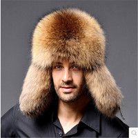 Men's Real Silver Fox Leifeng Hats Winter Warm Thick Fox Fur Cap Men Outdoor Fox Raccoon Middle aged Lei feng Bomber Hats H#82